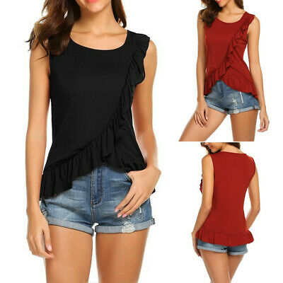 Fashion Women O-neck Sleeveless Solid Cross Ruffles Irregular Casual Tank Tops