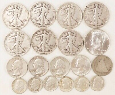 Lot Of $5.85 Face Value, 90% Silver Half Dollars, Quarters, Dimes, Junk Silver