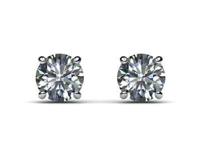 Authentic Exclusive Awesome E Si1 4.00 Ct Diamond Stud Earrings 14 K White Gold
