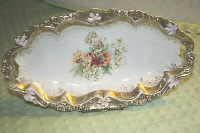 Vintage RS Germany Celery/Serving Dish-Floral Design, Gold Trim