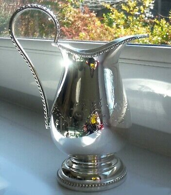 GLEAMING ENGLISH SILVER PLATED HAND ENGRAVED CREAM JUG-15cm *