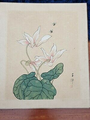 Chinese Japanese  Original Painting On paper flowers bees Vintage
