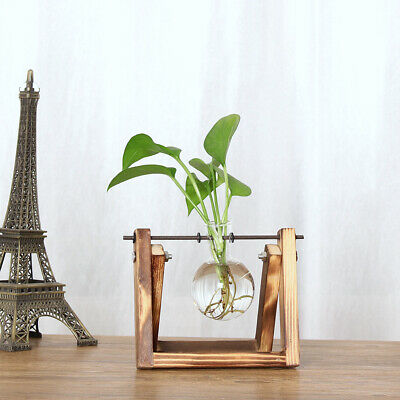 Glass Flower Vases with Wooden Stand Vintage Home Office Tabletop Floral Decor