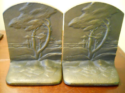 Rare Antique Arts Crafts B&H Bradley & Hubbard California Mission Trees Bookends