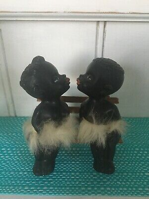 African Kissers On Bench Salt And Pepper Shakers