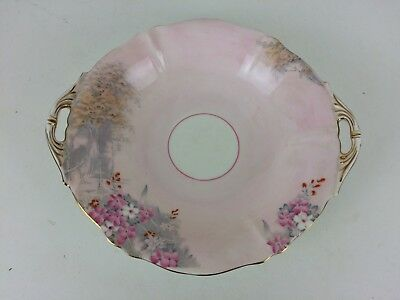 Vintage Paragon China Art Deco Pink Eared Cake Plate Hand Painted & Embellished