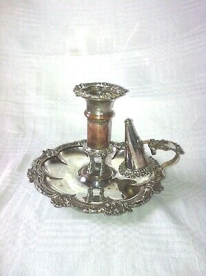 Victorian Silver Plated Chamberstick And Snuffer Pusher Match Holder Circa 1860