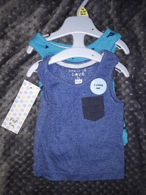 F&F baby pack of 2 vest tops blue fish print up to 1 month BNWT RRP £5.00
