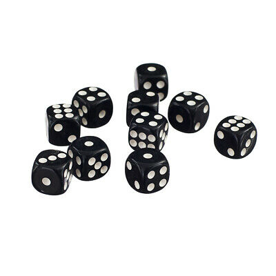 50 x 12mm Opaque Six Sided Spot Acrylic Dice Games Toy D6 D&D RPG Black