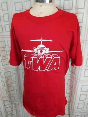 Vintage 80s Red Poly/Cotton Jerzees USA Made TWA Trans World Airlines T-shirt XL