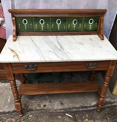 Antique Washstand With White Marble Top, Drawer And Shelf.