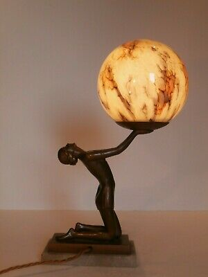 Art Deco Original Spelter Lady Lamp