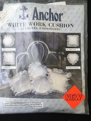 Anchor White Work Cushion In Crewel Embroider - Roses Around 1135-1 Kit