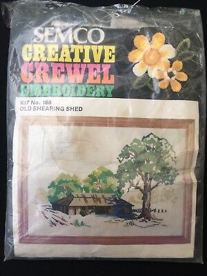 Semco Creative Crewel Embroidery Kit - Old Shearing Shed No.168