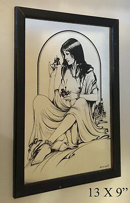 Art Nouveau Vintage Mirror Provocative  Mucha Style Lady