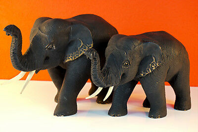 Wood Elephant Carved Teak Solid Wood Elephants Figurine from Thailand Carving