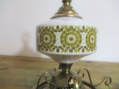 Vintage 70s Hanging Ceiling Brass Ceramic Retro Lamp Light German Missing Shade