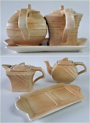 G Clewes and Co - The Perfecto Art Deco Ceramic Teapot, Water Jug and Tray Set