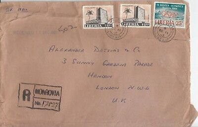 B 1455 Monrovia Reg air cover UK Dec 1963, 3 stamps, Olympics Austria stamp