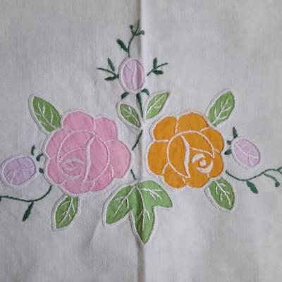 Vintage Pink & Yellow Floral Appliqué Supper Table Cloth