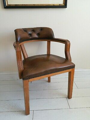 Antique 1920's Beech & Leather Office Armchair Elbow Captains Chair