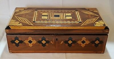 Marquetry wood vintage Victorian antique work / jewellery box