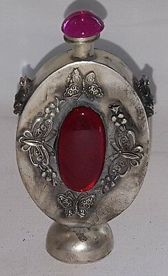 Chinese silver & red agate stone vintage Victorian oriental antique snuff bottle