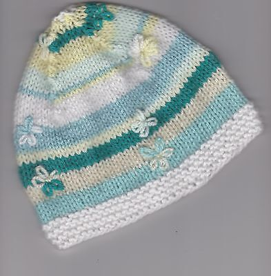 Hand Knitted Baby Beanie Hat for Baby Girl~ 3 months ~Green / Lemon / White