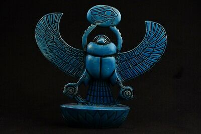 Lovely Blue Hammer stone Ancient Egyptian Scarab Beetle Statue / Reproduction 9""