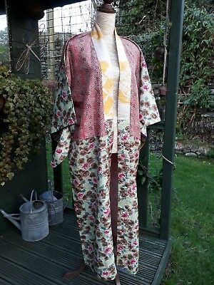 Vintage 1930s/40's Japanese AUTHENTIC silk KIMONO patchwork of fabrics