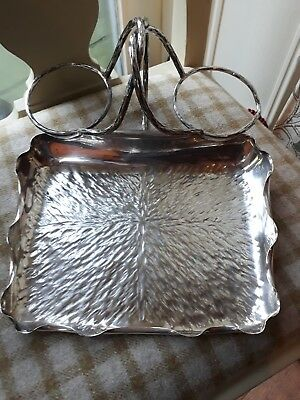 Hukin & Heath - Silver Plated Tray strawberry server Att to Christopher Dresser