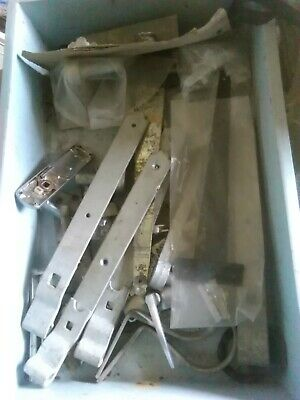 lucky dip box of hinges, latches, gutter irons and handles plus more about 15 kg