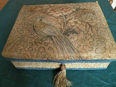 """Vintage Quilted Box Sewing Jewellery Stationery French? Peacock 13"""" X 10"""""""