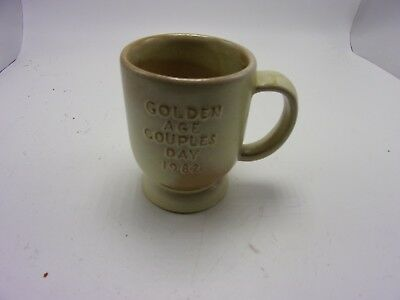 """Vintage Frankoma Pottery 1982 """"Golden Age Couples""""  Coffee Mug/Cup-C2-Tan/Brown"""