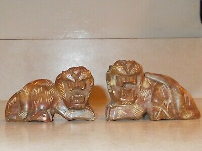 Antique Chinese pair hand-carved brown Soapstone Foo Dogs or Tigers w/ jade eyes