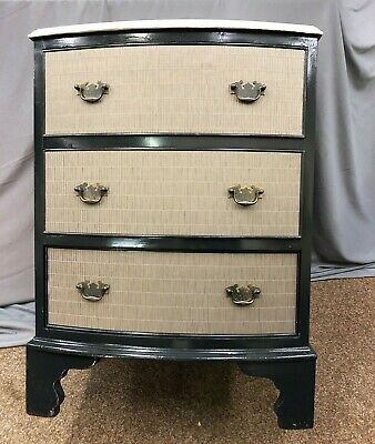 Antique Bow Fronted Chest of Drawers Chalk Paint Painted Bedside Cabinet Unit
