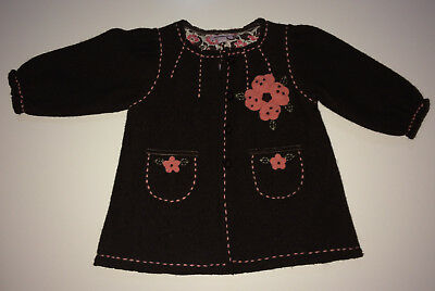 BNWT Monsoon WOOL Baby COAT Jacket STITCHED Embellished FLOWER Detail 3-6 mths