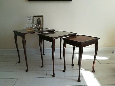 Antique Vintage Mahogany Wooden Nest 3 Glass Top Coffee Tables Queen Anne Legs