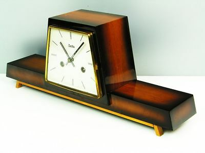 Rare Later Art Deco Design Chiming Mantel Clock From Zentra  Hermle   50 ´s