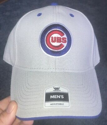 Nwt Men's Chicago Cubs adjustable Cap Hat. Great For Any Fan!! Gray/ Great Look!