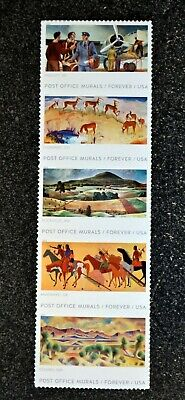 2019USA Forever - Post Office Murals - Strip of 5  indian horse