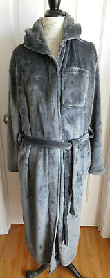 NWOT SLATE GREY WITH HOOD PLUSH ROSS MICHAELS MEN'S WRAP AROUND ROBE w/TIE SM/M