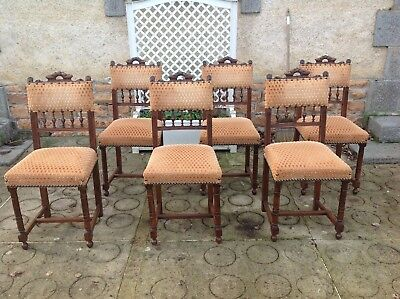 French antique vintage Henri ii style set of 6 dining chairs
