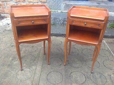 French antique vintage Louis XV style cherrywood bedside tables, cabinets