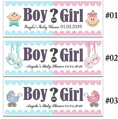 X 2 Personalised Gender Reveal Baby Shower Party Name Banners Decorations