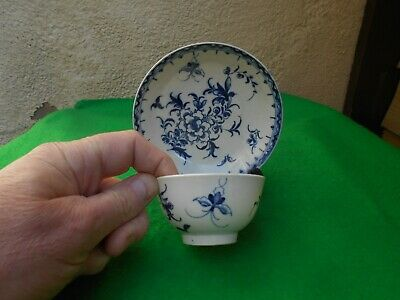 18thC Worcester antique blue botanical tea bowl & saucer   Chinese influence #1