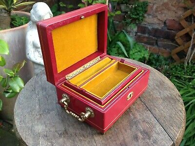 Antique Vintage Italian Leather Jewellery Box With Brass Handles & Feet Ouality.