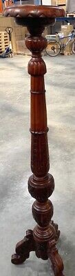 Solid Mahogany French Style Antique Wax Finish Torchere Candle Plant Stand