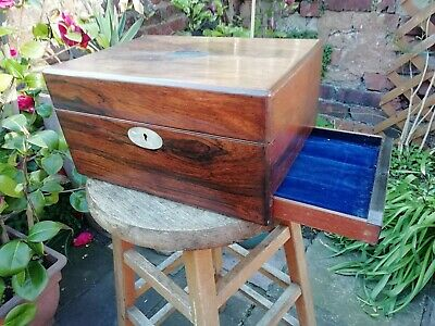 Antique Victorian Rosewood Wooden Work Writing Box For Restoration