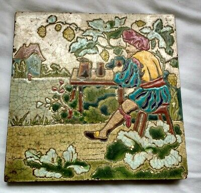 Antique hand decorated pictorial tile Tudor Man drinking ale, Majolica